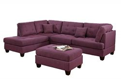 Bobkona Sectional Sofa Set Purple
