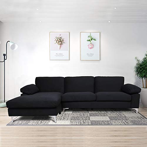 Sofa for Living Room,Modern Classic Upholstered Sectional Sofa Futon Couches with with Metal Leg ...