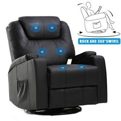 Massage Recliner Chair Reclining Sofa PU Leather Power Recliner Electric Massage Chair with 360  ...