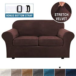 Real Velvet Plush 3 Piece Stretch Sofa Cover Velvet-Sofa Slipcover Loveseat Cover Furniture Prot ...