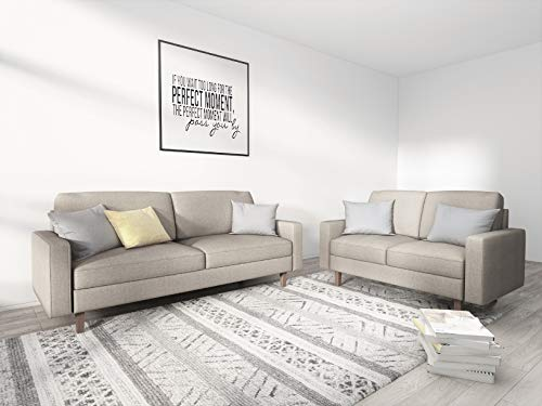Container Furniture Direct Squared Mid Century Modern Upholstered 2 Piece Living Room Sofa Set,  ...