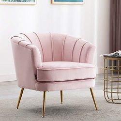 Artechworks Modern Velvet Barrel Chair Accent Armchair with Golden Legs for Living Room Bedroom, ...