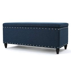 Christopher Knight Home Living Envy Deep Blue Fabric Storage Ottoman, Navy