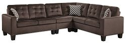 Homelegance Lantana 84″ x 107″ Fabric Sectional Sofa, Brown