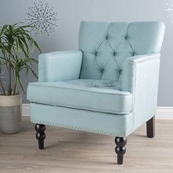 Christopher Knight Home Tufted Club, Decorative Accent Chair with Studded Details-Light Blue