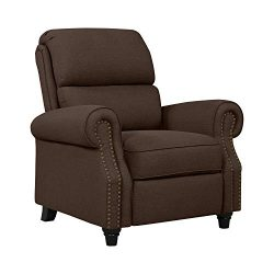 Domesis Cortez – Linen Push Back Recliner Chair, Brown