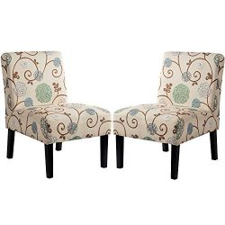 Upholstered Fabric Armless Accent Chair Set of 2, Slipper Chair for Living Room, Bedroom, with W ...