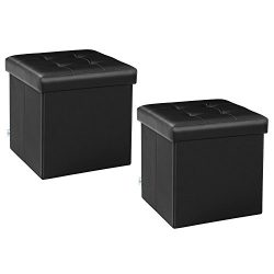 B FSOBEIIALEO Storage Ottoman Small Cube Footrest Stool Seat Faux Leather Ottoman Black 12.6R ...
