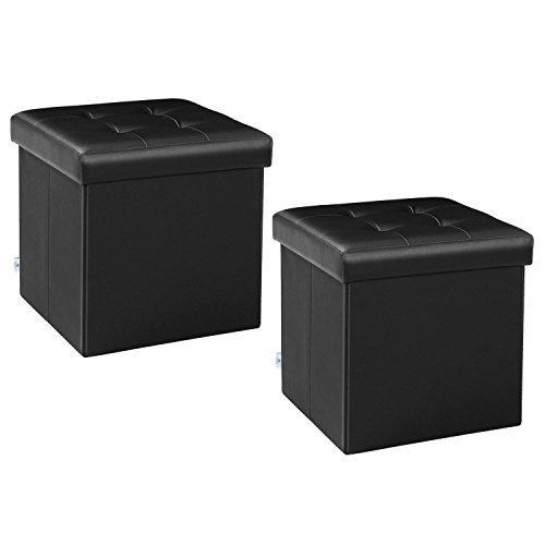 B FSOBEIIALEO Storage Ottoman Small Cube Footrest Stool Seat Faux Leather Ottoman Black 12.6R ...