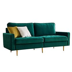 Mid Century Couch Sofa with Upholstered Velvet Fabric Metal Legs,Modern Luxury Loveseat,2 Wide S ...