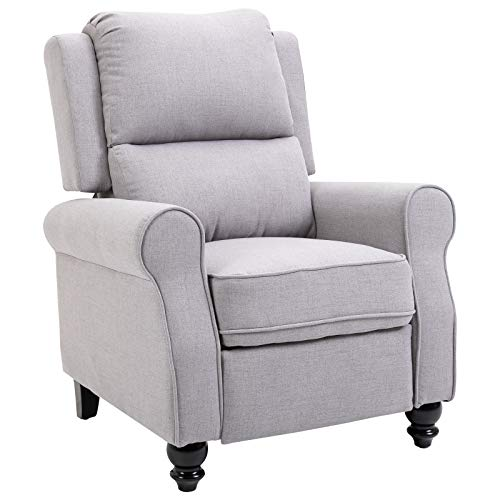 HOMCOM Modern Manual Recliner Armchair Sofa with Retractable Footrest, Grey