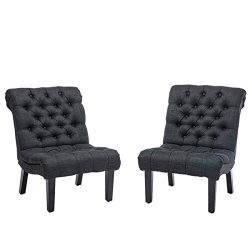 YongQiang Set of 2 Accent Chairs for Living Room Bedroom Upholstered Tufted Button Modern Lounge ...