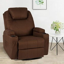 Esright Coffee Fabric Massage Recliner Chair 360 Degrees Swivel Heated Ergonomic Lounge