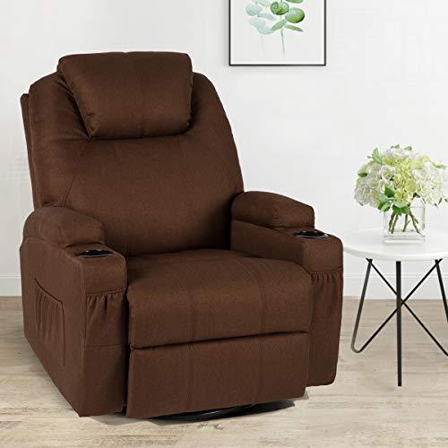 Esright Coffee Fabric Massage Recliner Chair 360 Degrees Swivel Heated Ergonomic Lounge