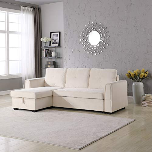 Legend Furniture 9001-Cream Velvet Chaise Storage Reversible Sofa Bed Sleeper Sectional, Cream