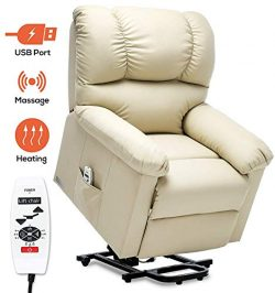 ERGOREAL Power Lift Chair for Elderly Electric Lift Recliner with Heat and Massage PU Leather Li ...