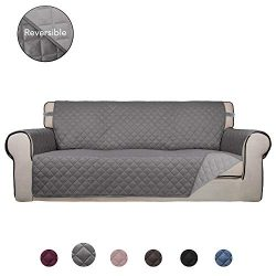 PureFit Reversible Quilted Sofa Cover, Water Resistant Slipcover Furniture Protector, Washable C ...