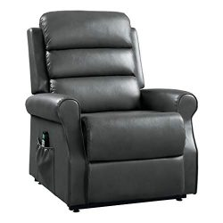 Homelegance Jareth Power Lift Recliner with Massage & Heat, Gray