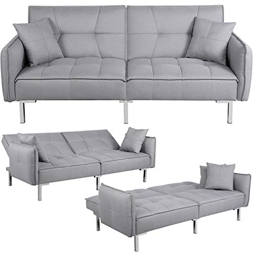 Yaheetech Sleeper Sofa Convertible Sofa Modern Adjustable Futon Couches Sofas Bed for Living Roo ...