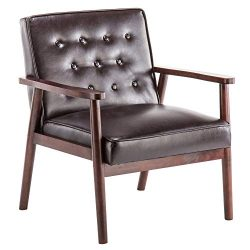 Accent Chair Upholstered Arm Chair Modern Fabric Single Sofa Comfy Living Room Furniture (Brown  ...
