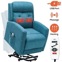 ERGOREAL Power Lift Recliner for Elderly Electric Lift Chairs with Heat and Massage Fabric Lift  ...