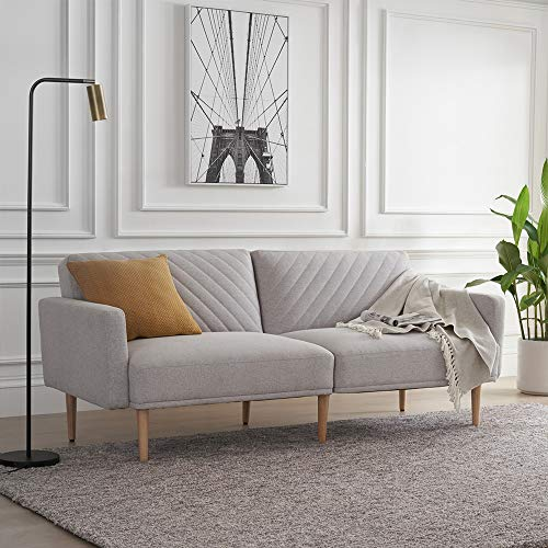 Mopio Chloe Convertible Futon Sofa Bed, Modern Sofa Couch Sleeper with Tapered Wood Legs, Perfec ...