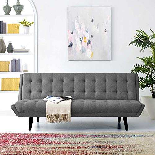 Modway Glance Mid-Century Modern Upholstered Fabric Convertible Futon Sofa Bed Couch In Gray