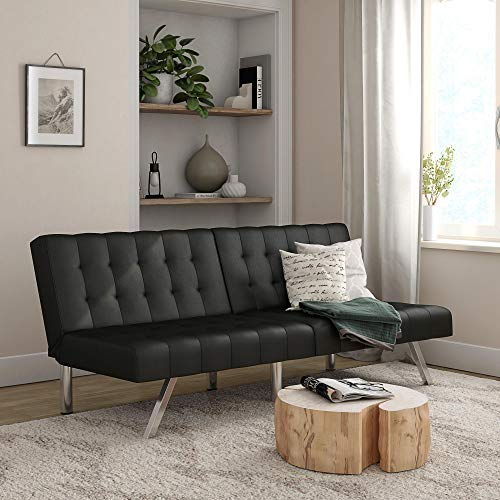 Mainstays Morgan Convertible Tufted Futon, Black Faux Leather