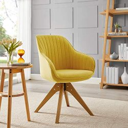 Art Leon Mid-Century Modern Swivel Accent Chair Medium Yellow with Wood Legs Armchair for Home O ...