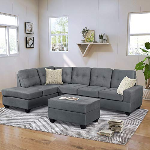 3 Piece Sectional Sofa Microfiber with Chaise Lounge Storage Ottoman and Cup Holders Grey, Secti ...