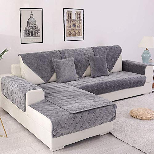 Deep Dream Sectional Sofa Covers, Velvet Sofa Slipcover Furniture Protector Anti-Slip Couch Cove ...