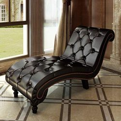 H.BETTER Leather Chaise Lounge Brown Tufted Chesterfield Sofas Couches Chair Indoor