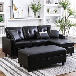 Lovorsofat Convertible Sectional Sofa with Ottoman L Shape Sleeper Sofa with Ottoman Faux Leathe ...