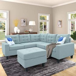 Merax Sofa 3-Piece Sectional Sofa with Chaise and Ottoman Living Room Furniture, Blue