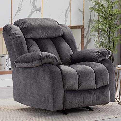 CANMOV Rocker Recliner Chair, Heavy Duty Reclining Chair with Contemporary Overstuffed Arms and  ...