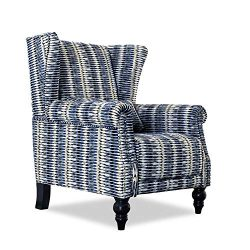 Top Space Accent Chair Sofa with Pine Wood Leg Club Arm Chair Stripe Single Sofa Modern Comfy Fu ...