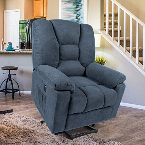 Esright Microfiber Power Lift Electric Recliner Chair with Heated Vibration Massage Sofa Fabric  ...