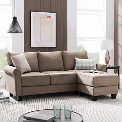 Nolany Reversible Sectional Sofa Couch for Small Apartment L Shape Sofa Couch 3-seat Sectional C ...