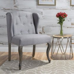 Christopher Knight Home Asheville Button Tufted Fabric Chair (Light Grey)