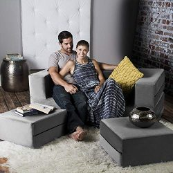 Jaxx Zipline Convertible Sleeper Loveseat & Ottomans / Queen-Size Bed, Pewter