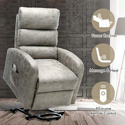 Orimoster Power Lift Chair for Elderly with Massage and Heat Grey, Ergonomic Electric Small Sued ...