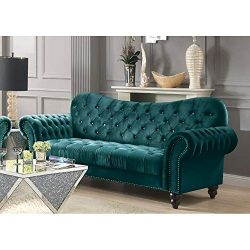 Mid Century Tufted Velvet Sectional Sofa Couch, Modern Diamond Tufted Upholstered Velvet Sofa wi ...