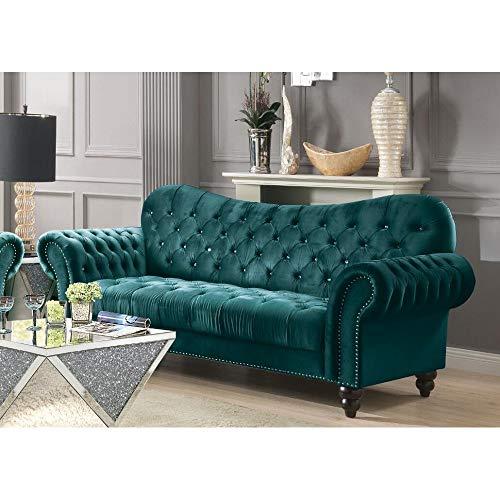 Mid Century Tufted Velvet Sectional Sofa Couch, Modern Diamond Tufted Upholstered Velvet Sofa wi ...