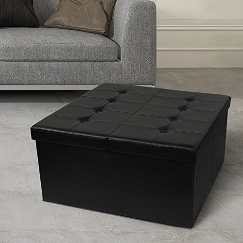 Otto & Ben Coffee Table with Smart Lift Top Tufted Folding Faux Leather Trunk Ottomans Bench ...