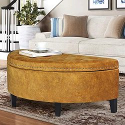 Homebeez Storage Ottoman Bench Tufted Half Moon Footrest Stool for Entryway Living Room(DarkOran ...
