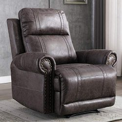 CANMOV Leather Recliner Chair, Classic and Traditional Manual Recliner Chair with Overstuffed Ar ...