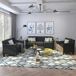 3 Piece Chair Loveseat Sofa Set, Harper & Bright Designs Living Room 3 Piece Sofa Couch Set, ...