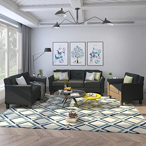 3 Piece Chair Loveseat Sofa Set, Harper & Bright Designs Living Room 3 Piece Sofa Couch Set, ...